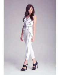 Bebe - White Jane Piped Pants - Lyst