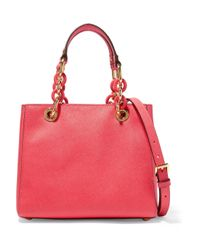eb997c51e927 MICHAEL Michael Kors Cynthia Small Textured-leather Tote in Red - Lyst