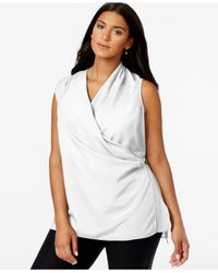 Calvin Klein | White Plus Size Sleeveless Wrap Tunic Top | Lyst