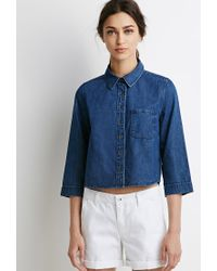 Forever 21 - Blue Cotton Denim Shirt - Lyst