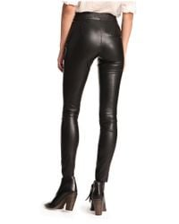 BOSS Orange - Black Biker Trousers In Leather-effect 'siloka' - Lyst