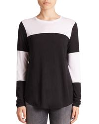 VINCE | Black Colorblocked Jersey Top | Lyst