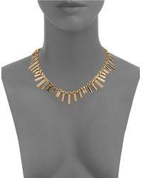 ABS By Allen Schwartz | Metallic Pave Station Chain Necklace | Lyst
