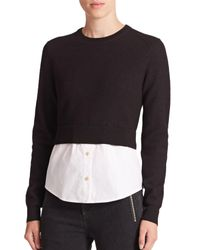 Marc By Marc Jacobs | Black Superfelt Wool & Stretch-cotton Combo Top | Lyst
