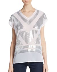 Saks Fifth Avenue Black Label | White Sequined V-neck Top | Lyst