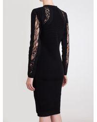 Antonio Berardi - Black Buttoned Lace Inset Dress - Lyst