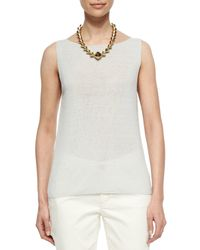 Eileen Fisher - White Sleeveless Linen-blend Shell - Lyst