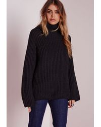 Lyst - Missguided Chunky Turtle Neck Jumper Black in Black ac1905be7