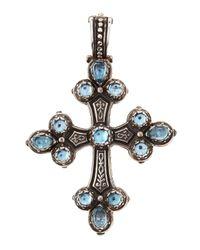 Konstantino | Metallic Aquamarine Silver Cross Pendant | Lyst