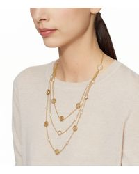 Tory Burch | Metallic Charm-and-pearl Triple-strand Necklace | Lyst