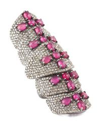 Bavna | Pink Sterling Silver Ring With Ruby & Champagne Rose Cut Diamonds | Lyst