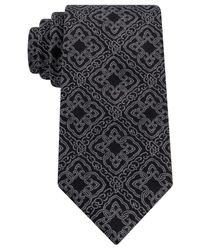 Sean John | Black Large Fancy Medallion Tie for Men | Lyst