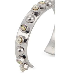 MFP MariaFrancescaPepe | Metallic Rhodium Plated Swarovski Cuff | Lyst