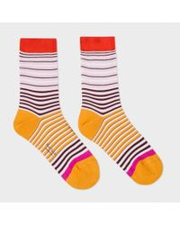 Paul Smith | Women's Pink And Orange 'mainline Stripe' Socks | Lyst