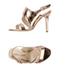 Enrico Lugani | Metallic High-heeled Sandals | Lyst
