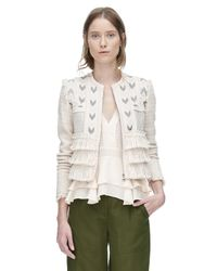Rebecca Taylor | White Tweed Embroidered Fringe Jacket | Lyst