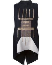 Rick Owens | Black Sphinx Embellished Wool-blend Top | Lyst