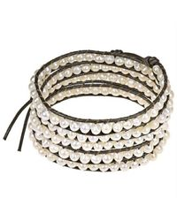Aeravida - Brown White Purity Freshwater Pearl Snake Cord Leather 5-wrap Bracelet - Lyst