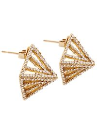 Lulu Frost | Metallic Gold-tone Apex Pave Pyramid Stud Earrings | Lyst