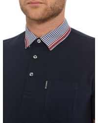 Ben Sherman | Blue Gingham Tipped Collar Polo for Men | Lyst