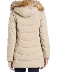 DKNY | Natural Faux Fur-trimmed Quilted Anorak | Lyst