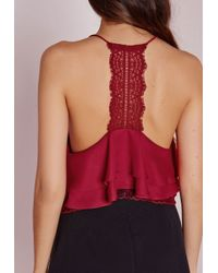 Missguided - Purple Lace Back Double Layer Cami Wine - Lyst