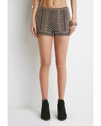 Forever 21 - Black Abstract-embroidered Flat Front Shorts - Lyst