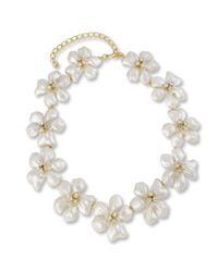 Kenneth Jay Lane | White Pearl Flower Necklace | Lyst