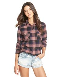 RVCA | Pink 'wanted' Plaid Flannel Shirt | Lyst