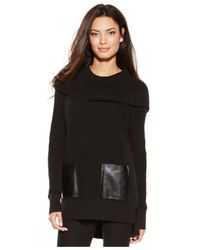 Michael Kors | Black Michael Petite Cowl-neck Patch Pocket Sweater | Lyst