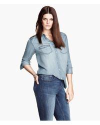 H&M | Blue Denim Shirt | Lyst