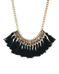 Mango | Black Chain Tassel Short Necklace | Lyst