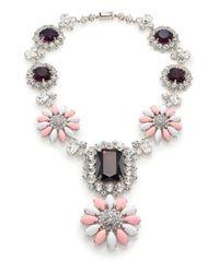 Miu Miu - Pink Swarovski Crystal Flower Pendant Necklace - Lyst