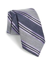 Michael Kors | Gray 'soft' Stripe Silk Blend Tie for Men | Lyst