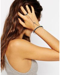 ASOS - Blue Turq Stone & Feather Charm Hand Harness - Lyst