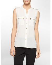 Calvin Klein | White Label Mandarin Collar Exposed Zip Detail Sleeveless Top | Lyst