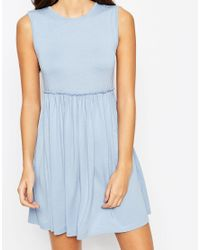 ASOS - Blue Petite Sleeveless Babydoll Dress - Lyst