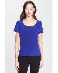 St. John | Blue Silk Crepe De Chine Top | Lyst