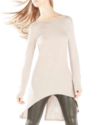 BCBGMAXAZRIA | Natural Kendi Hi-low Twist Back Top | Lyst