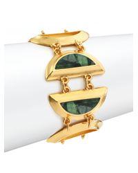 Stephanie Kantis | Metallic Minutia Green Moss Agate Half Moon Bracelet | Lyst