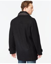 Calvin Klein | Black Melton Wool-blend Coat for Men | Lyst