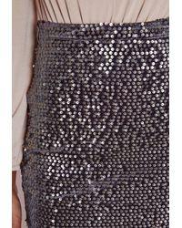 Missguided   Gray Longline Velvet Sequin Midi Skirt Grey   Lyst