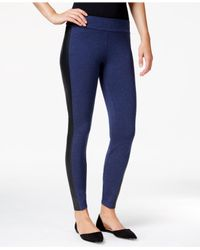 Kensie | Blue Faux-leather-panel Ponte Leggings | Lyst