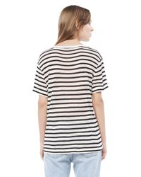 Alexander Wang | Black Stripe Linen Short Sleeve Tee | Lyst