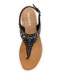 Prada - Black Vitello Vintage Studded Thong Sandal - Lyst