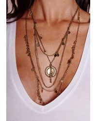 Missguided | Metallic Delicate Layered Boho Necklace Gold | Lyst
