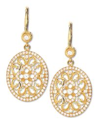 Penny Preville - Metallic Small Oval Lace Diamond Earrings On French Wire - Lyst