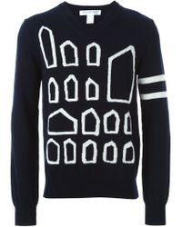 Comme des Garçons - Blue Geometric Pattern Knit Sweater for Men - Lyst