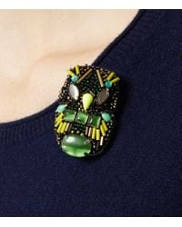 Reiss - Green Kaspa Owl Embellished Brooch - Lyst