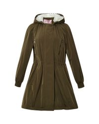 Giamba - Green Light Taffeta Parka With Faux Fur Hood - Lyst